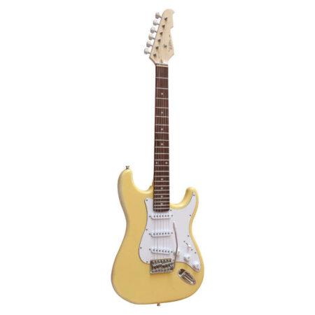 E-Gitarre Massivholz mit Kabel in der Farbe Creme