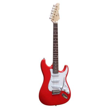 E-Gitarre Massivholz Rot mit Kabel in der Farbe Rot