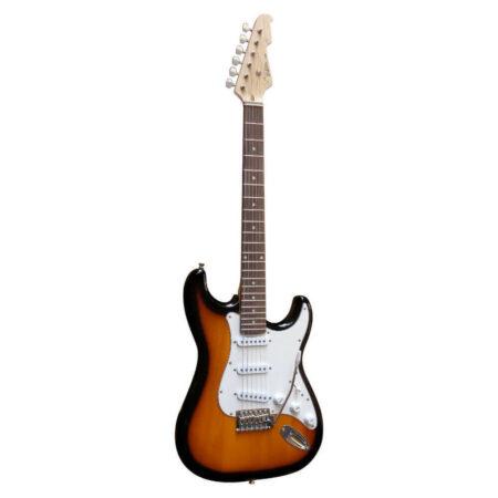 E-Gitarre Massivholz mit Kabel in der Farbe Sunburst